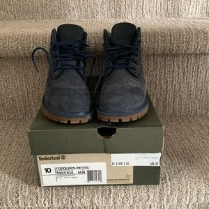"""Timberland 6"""" navy mono boots toddler size 10"""